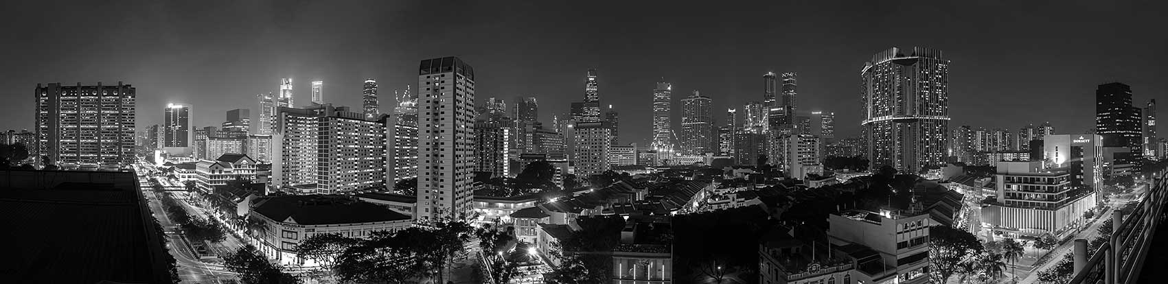 City Landscape, black and white, night photography, urban landscape